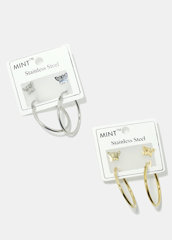2-Pair Butterfly & Hoop Earrings