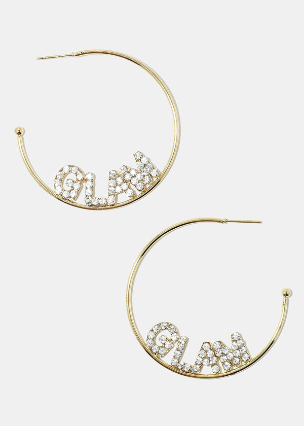"Rhinestone  ""GLAM"" Open Hoop Earrings"