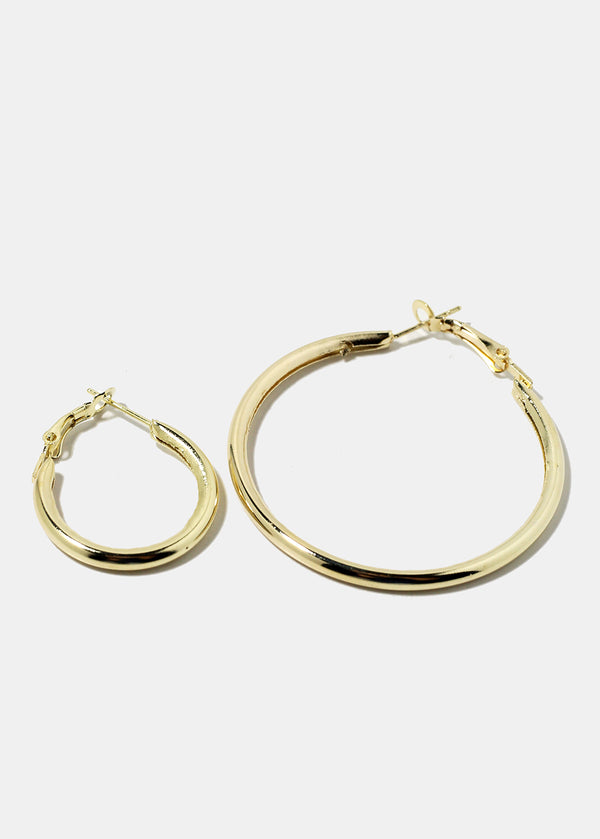 6-Pair Multi Size Thick Gold Hoop Earrings