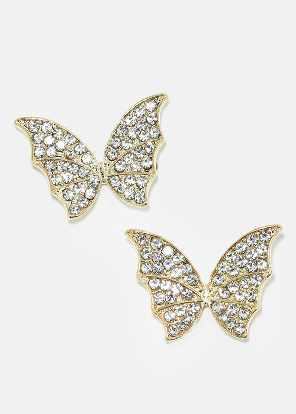 Rhinestone Studded Butterfly Stud Earrings