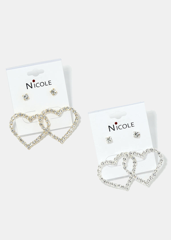 2-Pair Rhinestone Heart & Stud Earrings