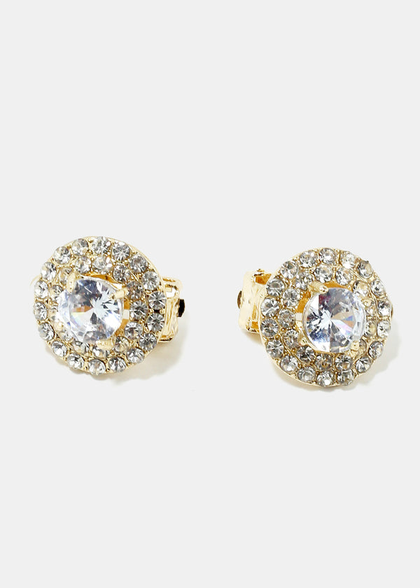 Rhinestone Circle Clip On Earrings