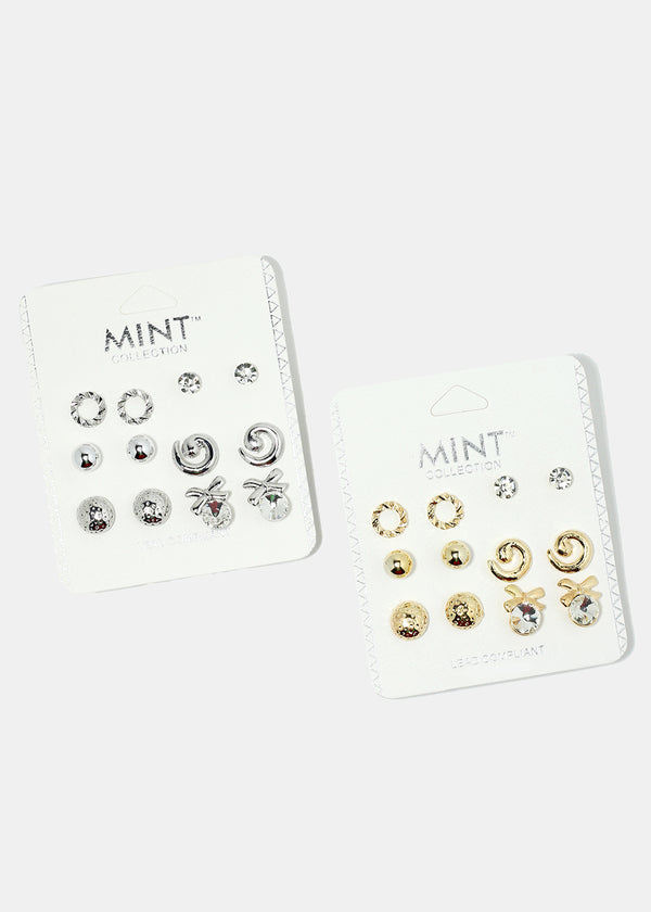 6-Pair Multi Design Stud Earrings