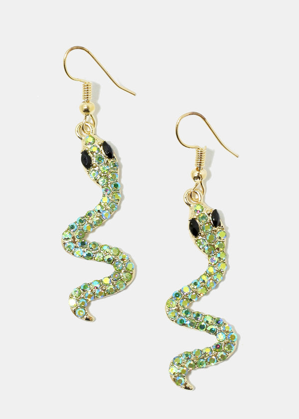 Rhinestone Snake Dangle Earrings