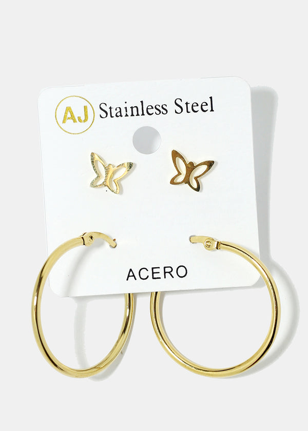 2-Pair Stud & Hoop Earrings