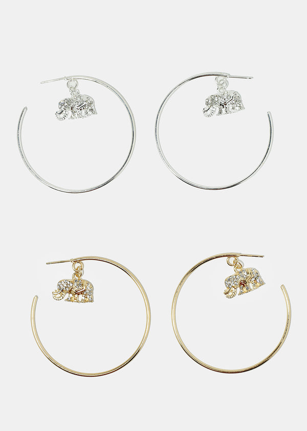 Rhinestone Elephant Hoop Earrings