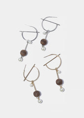 Wooden Ball & Pearl Dangle Earrings
