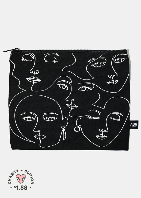 A+ Large Canvas Pouch -Artistic Faces