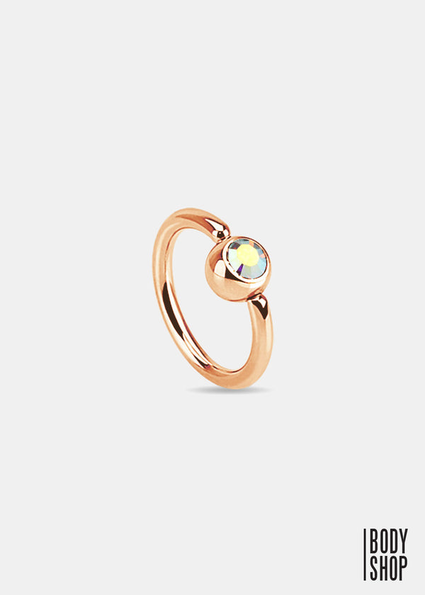 Rose Gold IP Over 316L Surgical Steel Gem Set Ball Captive Ring - Rainbow