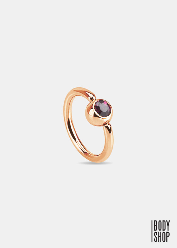 Rose Gold IP Over 316L Surgical Steel Gem Set Ball Captive Ring - Purple