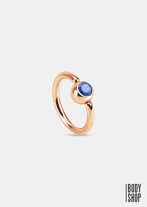 Rose Gold IP Over 316L Surgical Steel Gem Set Ball Captive Ring - Blue