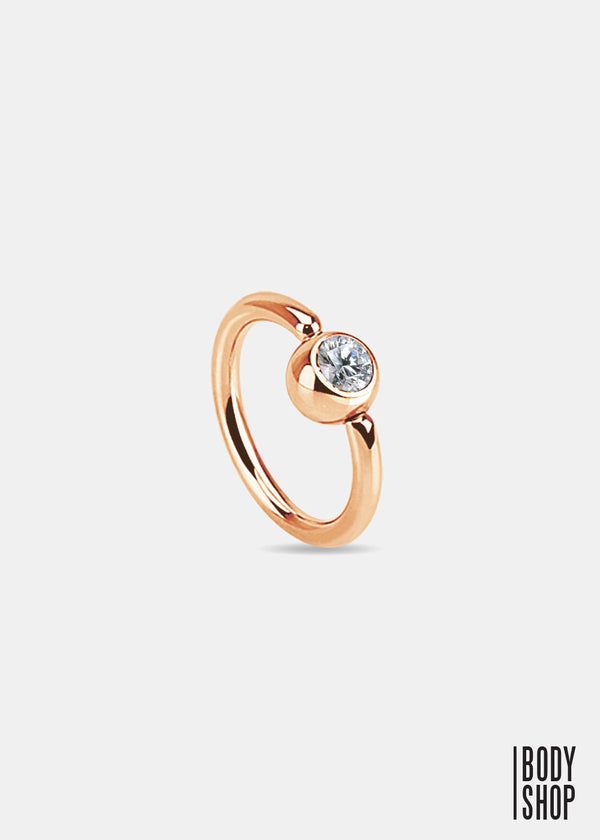 Rose Gold IP Over 316L Surgical Steel Gem Set Ball Captive Ring - 18GA Clear