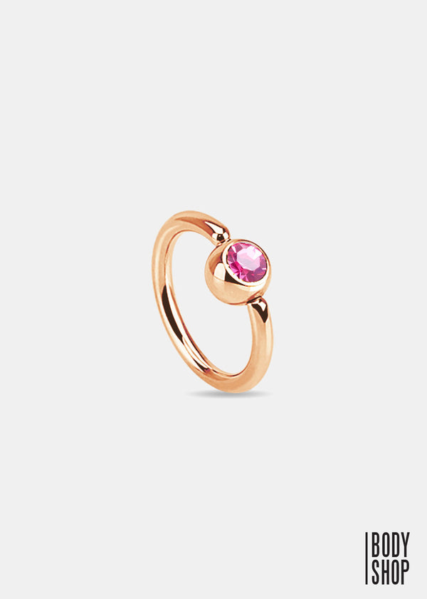 Rose Gold IP Over 316L Surgical Steel Gem Set Ball Captive Ring - Pink