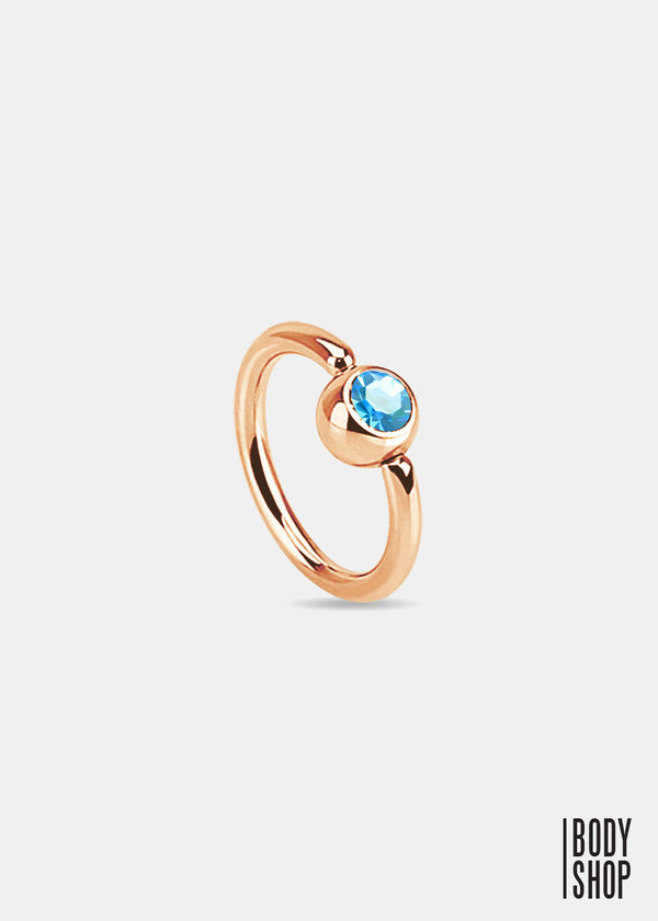 Rose Gold IP Over 316L Surgical Steel Gem Set Ball Captive Ring - Aqua