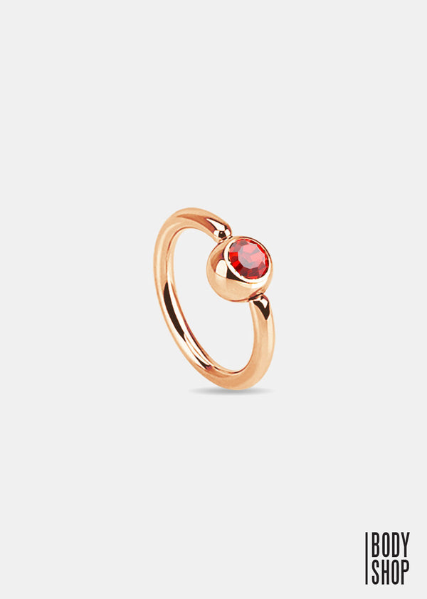 Rose Gold IP Over 316L Surgical Steel Gem Set Ball Captive Ring - Red