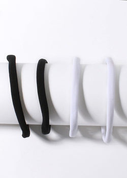4 Piece Black & White Hair Ties