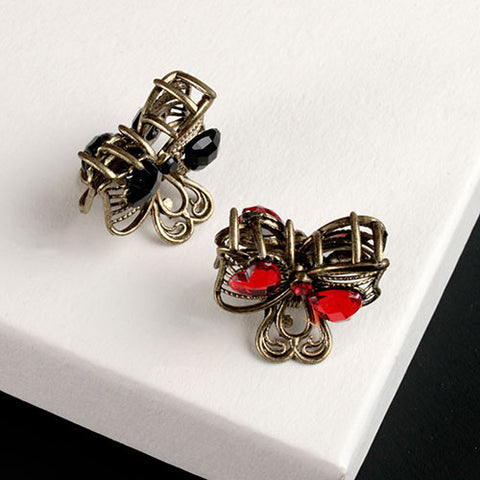 Vintage Bow Mini Clip with Hearts