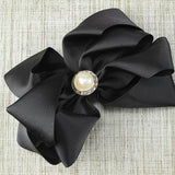 Solid Hair Bow with Pearl