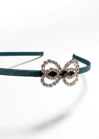 Satin Rhinestone Bow Headband