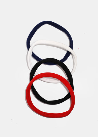 4 Piece Solid Color Hair Ties
