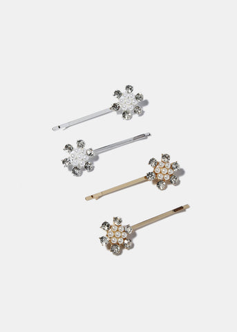 2 Piece Pearl Flower Hair Pins