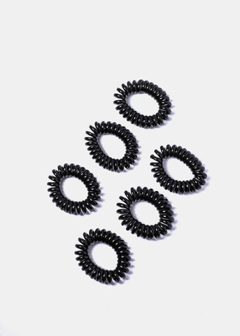 6 Piece Black Rubber Spiral Hair Ties