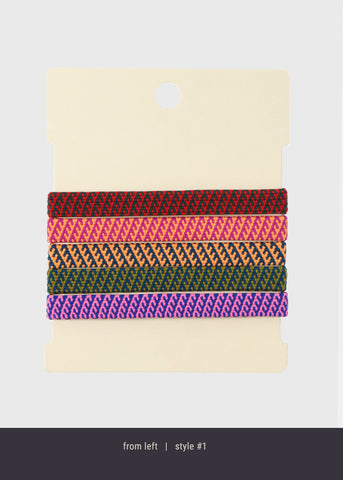 4 Piece Striped Woven Hair Ties