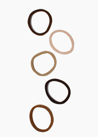 6 Piece Medium Neutral Tone Hair Ties