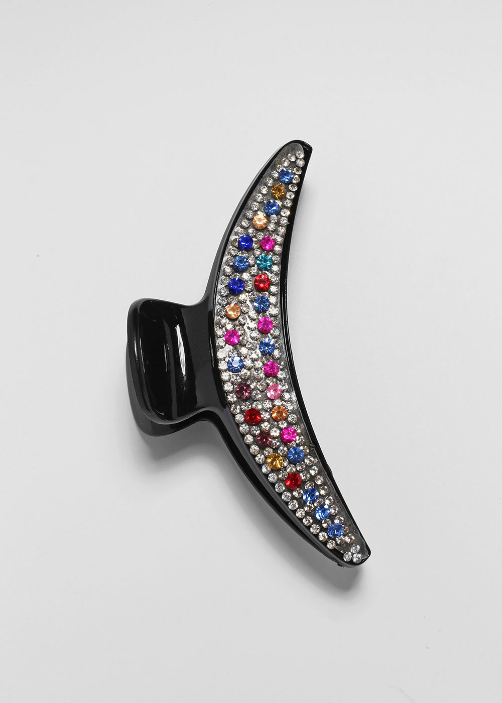 Multi-Color Rhinestone Crescent Jaw Clip