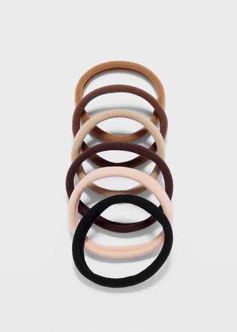 6 Piece Neutral Tone Hair Ties