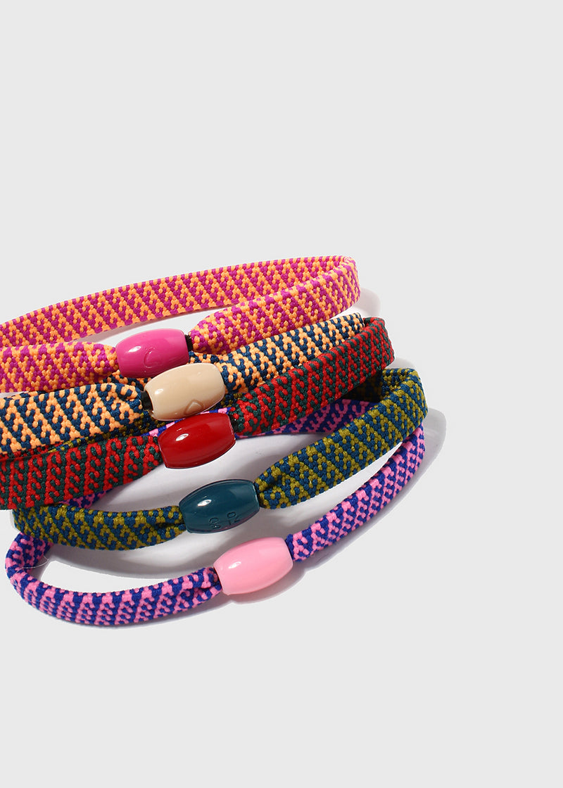 5 Piece Patterned Woven Hair Ties