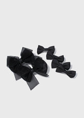 6 Piece Kids Solid Bow Hair Clips