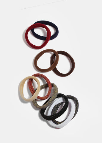 10 Piece Shimmer & Neutral Hair Ties