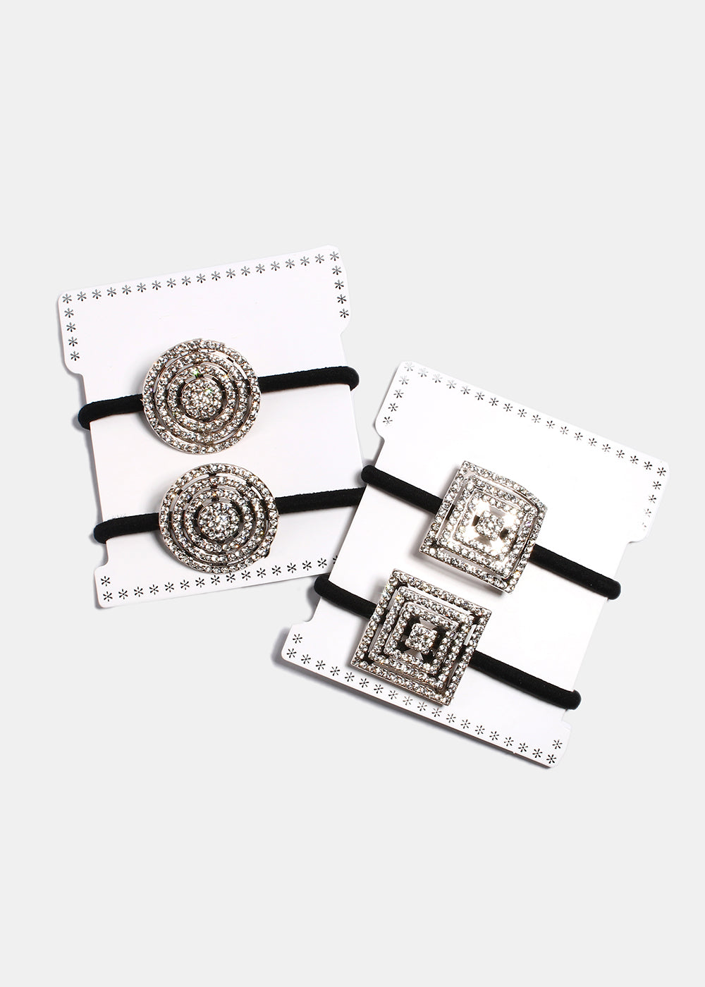 2 Piece Rhinestone Square & Circle Hair Ties