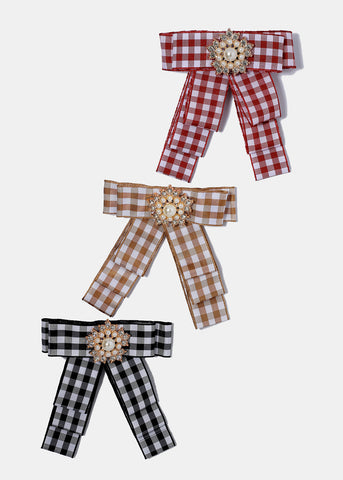 Plaid Ribbon & Pearl Hair Bow