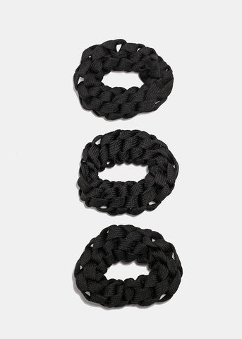 3 Pair Black Woven Hair Scrunchies