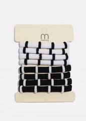 8 Piece Black & White Stripe Hair Ties