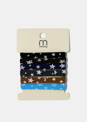 6 Piece Star Print Hair Ties