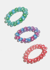 3-Piece Polka Dot Spiral Hair Ties