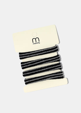 4-Piece Shimmer Striped Hair Ties