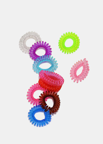 10-Piece Multi Mini Spiral Hair Ties