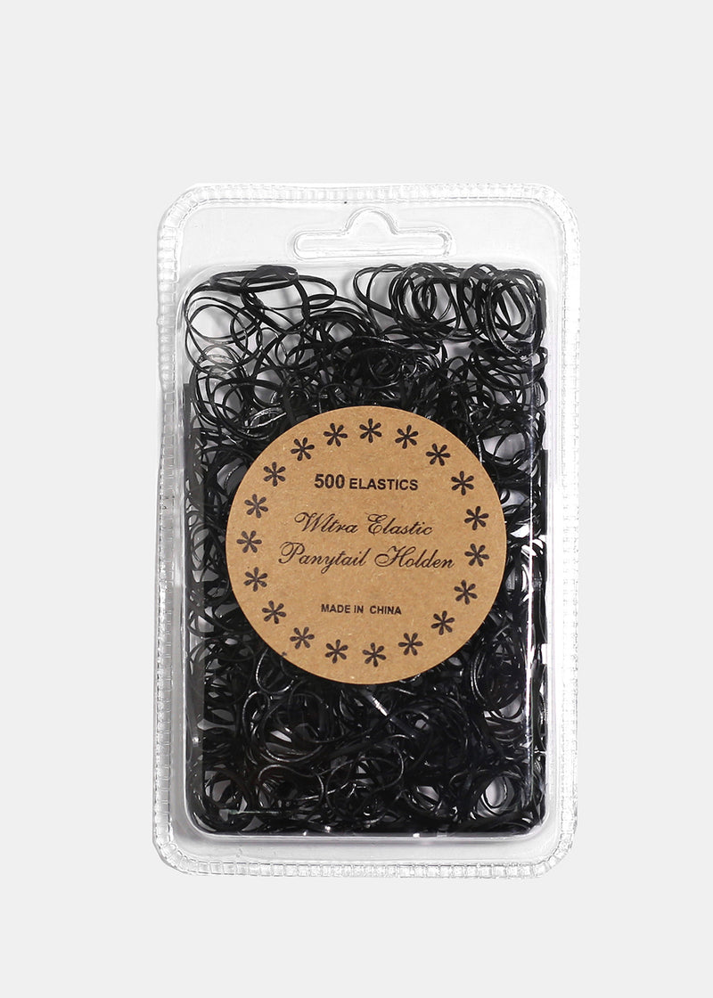 500-Piece Black Hair Elastics