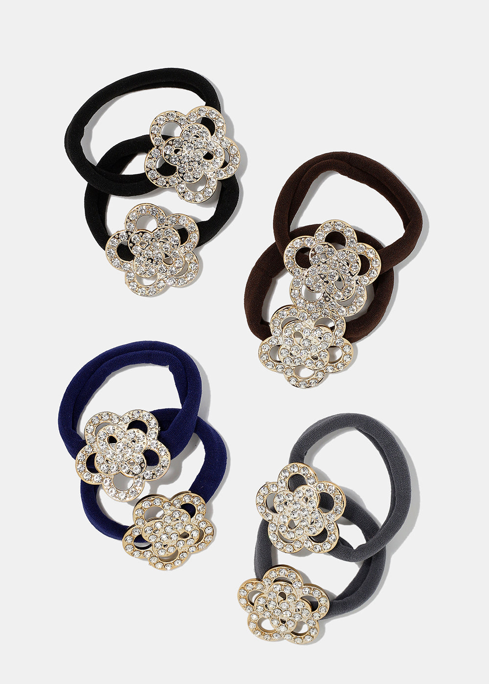2-Piece Rhinestone Flower Hair Ties