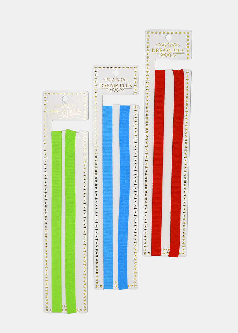 2-Piece Thin Solid Color Headband Set