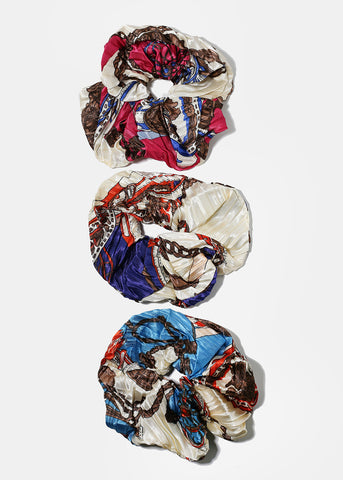 Multi-Color Print Scrunchie Hair Ties