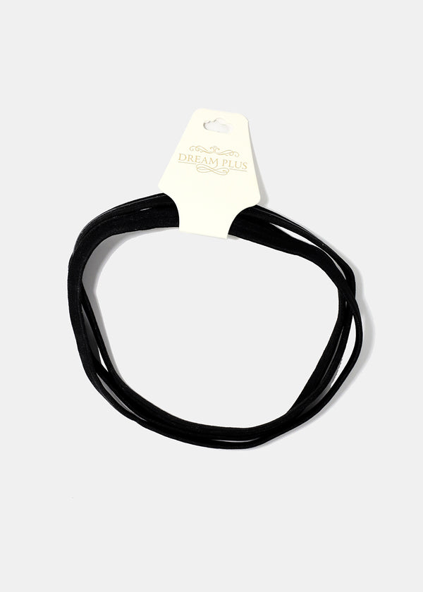3-Piece Black Non-Slip Headbands