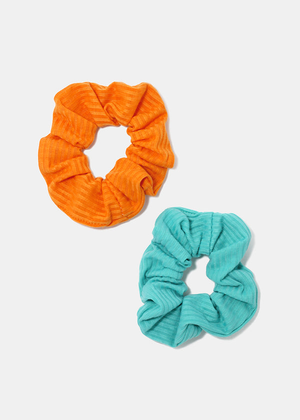 2-Piece Solid Color Ribbed Scrunchies