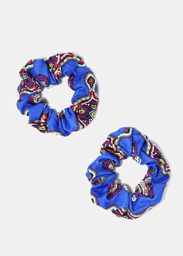 2-Piece Multi-Color Paisley Scrunchies
