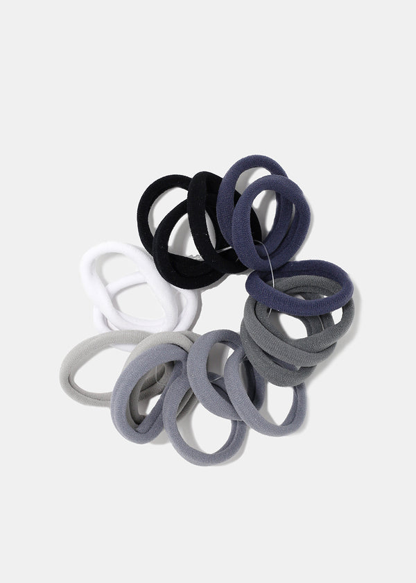 18-Piece Grey Tones Soft Hair Ties