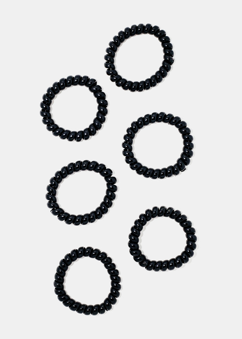 6-Piece Black Spiral Hair Ties